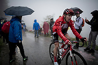 Jan Bakelants (BEL/Sunweb) up the extremely wet, cold & misty Cole di Mortirolo <br /> <br /> Stage 16: Lovere to Ponte di Legno (194km)<br /> 102nd Giro d'Italia 2019<br /> <br /> ©kramon
