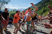 Sep Vanmarcke (BEL/LottoNL-Jumbo) enjoying the craziness at the Dutch Corner (nr7) up Alpe d'Huez & filming his passage at the same time<br /> <br /> stage 20: Modane Valfréjus - Alpe d'Huez (111km)<br /> 2015 Tour de France