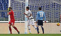 Calcio, Serie A: Lazio vs Juventus. Roma, stadio Olimpico, 4 dicembre 2015.<br /> Juventus&rsquo; Mario Mandzukic, center, celebrates after Lazio&rsquo;s Santiago Gentiletti, right, scored an own goal during the Italian Serie A football match between Lazio and Juventus at Rome's Olympic stadium, 4 December 2015. At left, Lazio&rsquo;s goalkeeper Federico Marchetti reacts.<br /> UPDATE IMAGES PRESS/Riccardo De Luca