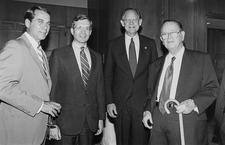Rep. John Boehner, R-Ohio, Rep. Dick Zimmer, R-N.J., Rep. Michael Castle, R-Del., and Rep. Jamie L. Whitten, D-Miss., during bipartisan tribute to B. Michel on Sep. 26, 1994. (Photo by Laura Patterson/CQ Roll Call)