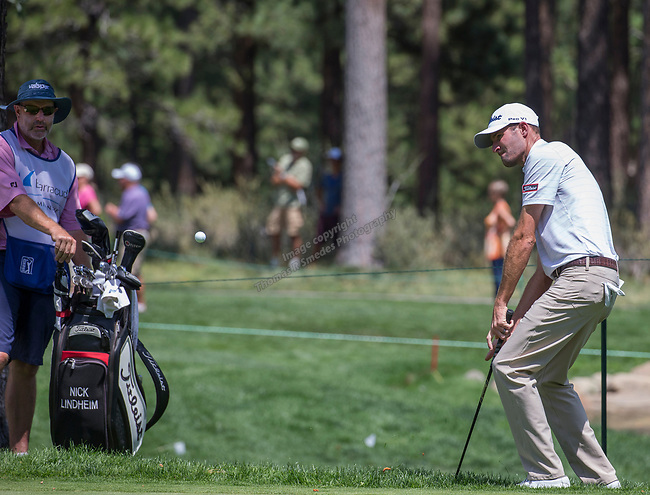 Nicholas Lindheim chips on to the 15th green during the Barracuda Championship PGA golf tournament at Montrêux Golf and Country Club in Reno, Nevada on Sunday, July 28, 2019.