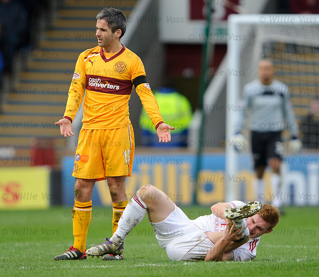 Keith Lasley about to see red for his challenge on Fraser Fyvie