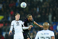George Byers of Swansea City battles with Darren Pratley of Charlton Athletic during the Sky Bet Championship match between Swansea City and Charlton Athletic at the Liberty Stadium in Swansea, Wales, UK.  Thursday 02 January 2020