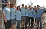 PACOIMA, CA. - October 10: (L-R) Trevor Donovan, Matt Lanter, Jessica Lucas, Colin Egglesfield, Thomas Calabro, Shaun Sipos, Stephanie Jaconsen and Michael Rady arrive at The 2009 American Dream Walk To Benefit Habitat For Humanity at Lowe's Home Improvement on October 10, 2009 in Pacoima, California.
