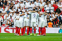 The England team in a huddle ahead of the FIFA World Cup qualifying match between England and Malta at Wembley Stadium, London, England on 8 October 2016. Photo by David Horn / PRiME Media Images.