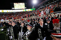 As the clock hits zero, members of the Ohio State Marching Band celebrate the Buckeyes' 49-37 win over Michigan State in the NCAA football game at Spartan Stadium in East Lansing, Michigan on Nov. 8, 2014. (Adam Cairns / The Columbus Dispatch)