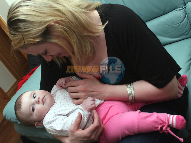 Baby Gretta Kieran Cullen who was born with a condition known as Septo-Optic Dysplasis  (Morsiers Syndrome).  Pictured here with her mother Maria Kieran...Photo NEWSFILE/Jenny Matthews.(Photo credit should read Jenny Matthews/NEWSFILE)....This Picture has been sent you under the condtions enclosed by:.Newsfile Ltd..The Studio,.Millmount Abbey,.Drogheda,.Co Meath..Ireland..Tel: +353(0)41-9871240.Fax: +353(0)41-9871260.GSM: +353(0)86-2500958.email: pictures@newsfile.ie.www.newsfile.ie.FTP: 193.120.102.198.