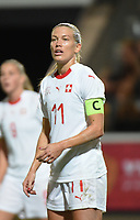 20181005 - LEUVEN , BELGIUM : Switzerland's Lara Dickenmann  pictured during the female soccer game between the Belgian Red Flames and Switzerland , the first leg in the semi finals play offs for qualification for the World Championship in France 2019, Friday 5 th october 2018 at OHL Stadion Den Dreef in Leuven , Belgium. PHOTO SPORTPIX.BE | DIRK VUYLSTEKE