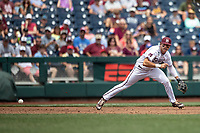 Vanderbilt Commodores third baseman Marshall Gilbert (34) tracks a ground ball during Game 8 of the NCAA College World Series against the Mississippi State Bulldogs on June 19, 2019 at TD Ameritrade Park in Omaha, Nebraska. Vanderbilt defeated Mississippi State 6-3. (Andrew Woolley/Four Seam Images)