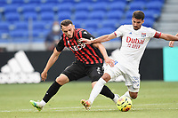 4th July 2020; Lyon, France; French League 1 friendly due to the Covid-19 pandemic forced league ending;  Houssem Aouar (lyon) and Amine Gouiri (nice)
