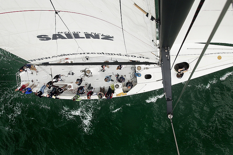 A bird's eye view of tourists enjoying a day out on the Hauraki Harbour, sailing in an America's Cup boat. pub East & Bays Courier Dec2006. Photo James Madelin