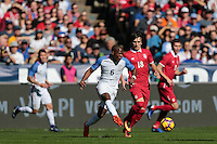 San Diego, CA - Sunday January 29, 2017: Darlington Nagbe, Sasa Jovanovic during an international friendly between the men's national teams of the United States (USA) and Serbia (SRB) at Qualcomm Stadium.