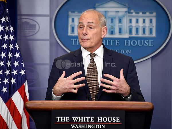 White House Chief of Staff General John Kelly briefs reporters in the Brady Press Briefing Room of the White House in Washington, DC on Thursday, October 12, 2017.<br /> Credit: Ron Sachs / CNP /MediaPunch