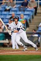 Binghamton Rumble Ponies second baseman Jeff McNeil (1) follows through on a swing during a game against the Erie SeaWolves on May 14, 2018 at NYSEG Stadium in Binghamton, New York.  Binghamton defeated Erie 6-5.  (Mike Janes/Four Seam Images)
