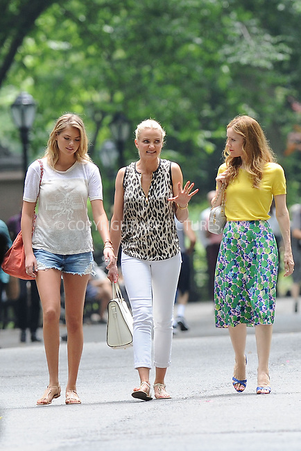 WWW.ACEPIXS.COM<br /> June 27, 2013...New York City <br /> <br /> Kate Upton, Cameron Diaz and Leslie Mann on the film set of 'The Other Woman' in Central Park on June 27, 2013.<br /> <br /> Please byline: Kristin Callahan... ACE<br /> Ace Pictures, Inc: ..tel: (212) 243 8787 or (646) 769 0430..e-mail: info@acepixs.com..web: http://www.acepixs.com