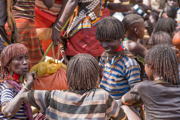 "These Hamer tribe women seem to be enjoying ""catching up"" at the Dimeka weekly market in southern Ethiopia."