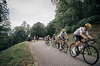 Michal Kwiatkowski (POL/SKY) leads Chris Froome (GBR/SKY) and other GC contenders up the Mur de Péguère (Cat1/1375m/9.3km/7.9%)<br /> <br /> 104th Tour de France 2017<br /> Stage 13 - Saint-Girons › Foix (100km)