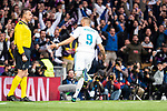 Real Madrid Karim Benzema celebrating a goal during Semi Finals UEFA Champions League match between Real Madrid and Bayern Munich at Santiago Bernabeu Stadium in Madrid, Spain. May 01, 2018. (ALTERPHOTOS/Borja B.Hojas)