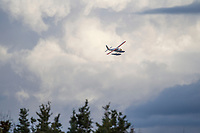 Float plane on approach for landing on Naknek lake, Katmai National Park, southwest, Alaska.