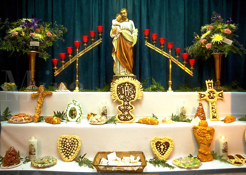 An elaborate religious altar display celebrating St. Joseph's Day. Louisiana.