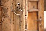 A wooden door in the Chueca neighborhood in Madrid, Spain.