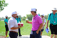 Joel Sjöholm waiting with iced drinks for Thorbjorn Olesen (DEN) on the 13th tee during the 2nd round of the DP World Tour Championship, Jumeirah Golf Estates, Dubai, United Arab Emirates. 16/11/2018<br /> Picture: Golffile | Fran Caffrey<br /> <br /> <br /> All photo usage must carry mandatory copyright credit (© Golffile | Fran Caffrey)