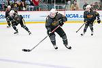 ADRIAN, MI - MARCH 18: Kaylyn Schroka (19) of Adrian College skates with the puck during the Division III Women's Ice Hockey Championship held at Arrington Ice Arena on March 19, 2017 in Adrian, Michigan. Plattsburgh State defeated Adrian 4-3 in overtime to repeat as national champions for the fourth consecutive year. by Tony Ding/NCAA Photos via Getty Images)