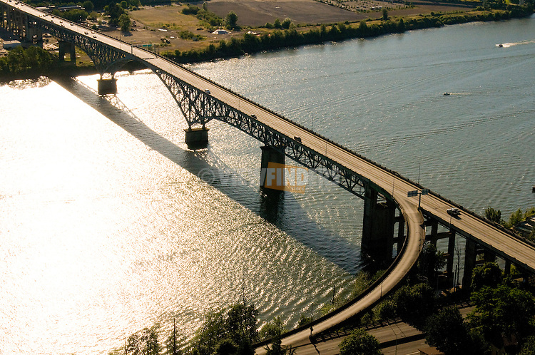 Aerial View of Ross Island Bridge in Portland, Oregon