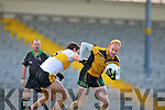 Former Kerry greats Seamus Scanlon breaks free from Eoin Brosnan Dr Crokes during the O'Donoghue Cup semi final clash in Fitzgerald Stadium on Saturday