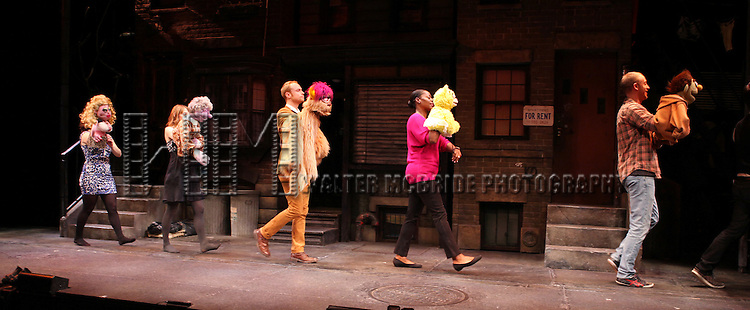 The cast of 'Avenue Q' celebrating their 3rd Anniversary Off-Broadway (and taping a segment for the Puppet enthusiasts rallying to campaign and save public broadcasting at the nation's capital with a Million Puppet March on Washington, D.C. on November 3) at The World Stages on 10/22/2012 in New York City.