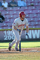 David Jacob (23) of the Vancouver Canadians bats against the Salem-Keizer Volcanoes at Volcanoes Stadium on July 24, 2017 in Keizer, Oregon. Salem-Keizer defeated Vancouver, 4-3. (Larry Goren/Four Seam Images)