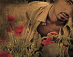 A close up of a young man standing near to poppies