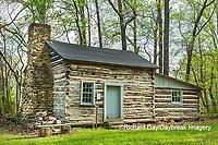 63895-15804 63895-158.02 Cabin at Log Cabin Village in spring Kinmundy IL