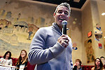 (Boston MA 11/18/16)  Andy Cohen speaks to a delighted crowd of mostly woman,  Friday afternoon, November 18, 2016, at the Palm Restaurant in Boston. Herald Photo by Jim Michaud