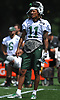 Robby Anderson #11 of the New York Jets lifts his helmet to cool off during team practice at the Atlantic Health Jets Training Center in Florham Park, NJ on Saturday, July 28, 2018.
