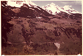 Ames Trestle is on lower left; Ames Slide is on lower right; Sunshine Peak is on left and Wilson Peak is on right.<br /> RGS  2 miles n. of Ophir, CO  Taken by Maxwell, John W. - 5/1948