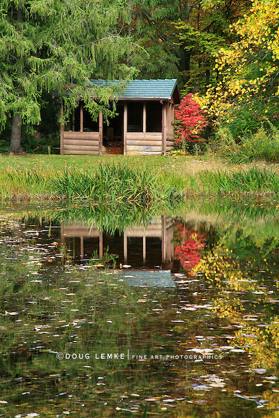 A Cozy Little Cabin Overlooking A Small Pond In Early Autumn, Southwestern Ohio