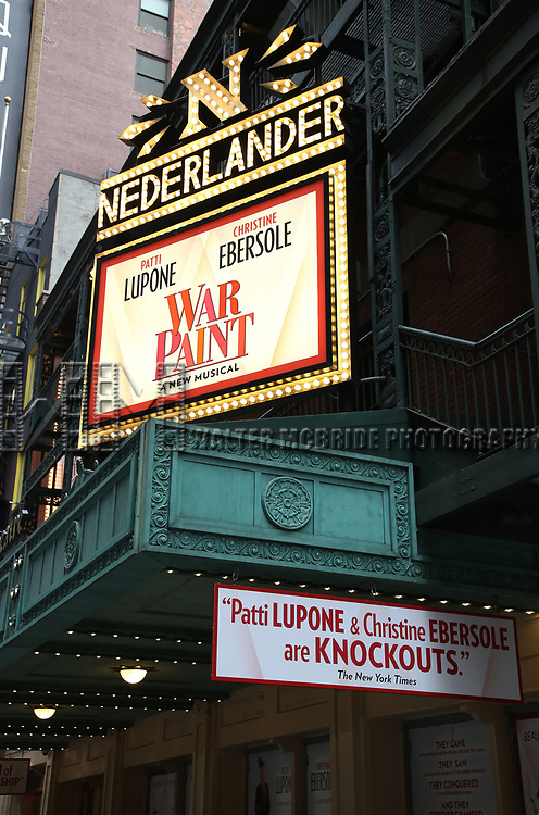 """Theatre Marquee unveiling for """"War Paint"""" starring Patti LuPone and Christine Ebersole at the Nederlander Theatre on 3/31/2017 in New York City."""