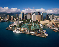 Aloha Tower Marketplace & Downtown Honolulu, Aerial View, Oahu, Hawaii, USA.