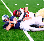 """November 23, 2019: #14 Reed Klubnik makes a sensational grab in  a stunning comeback that mirrored 1968, the Yale Bulldogs defeat Harvard in double """"OT"""" 50-43.  Yale came from down 17 late in the fourth quarter, including recovering an onside kick with a minute left at the Yale Bowl in New Haven Connecticut.Dan Heary/Eclipse Sportswire/CSM"""