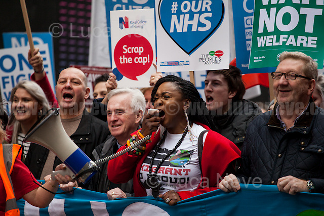 (From L to R) John McDonnell MP (Labour Member of Parliament for Hayes and Harlington and Shadow Chancellor) &amp; Len McCluskey (British trade unionist who was the General Secretary of Unite from 2011 until his resignation in December 2016).<br /> <br /> London, 04/03/2017. Today, hundreds of thousands activists (estimated 250,000 people for the organisers), doctors, nurses and members of the public marched from Tavistock Square (British Medical Association HQ) to Parliament Square. The demonstration, organised by Health Campaigns Together &amp; The People's Assembly, was called to protest against the National Health Service (NHS) crisis (and alleged privatization plan) which recently led the Red Cross to declare a humanitarian crisis in the British NHS and were forced to intervene. From the organisers Facebook event page: &lt;&lt;[&hellip;] We must fight to save the NHS from destruction. The threat is real. It is happening now. Hospitals, GPs, mental health, ambulance and community services are on their knees. Private companies are gaining an ever greater foothold within the NHS. Years of pay restraint has seen the value of NHS staff salaries reduce by 14% since 2010. The Government's Sustainability and Transformation Plans are a smokescreen for a massive programme of hospital and community service closures, and are its latest instrument for privatisation. The NHS is one of our greatest achievements. We cannot allow it to be undermined and ultimately destroyed. [&hellip;] &quot;the NHS will last as long as there are folk with the faith to fight for it.&quot; Nye Bevan - founder of the NHS [&hellip;]&gt;&gt;.<br /> <br /> For more information please click here: https://www.facebook.com/events/1771664639725061/
