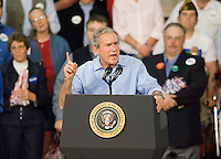 President George W. Bush speaks at a campaign rally for republican Montana Senator Conrad Burns at MetraPark in Billings, Mont., Nov. 2, 2006.