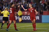 San Diego, CA - Sunday January 21, 2018: Alex Morgan, Mallory Pugh prior to an international friendly between the women's national teams of the United States (USA) and Denmark (DEN) at SDCCU Stadium.