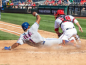 New York Mets shortstop Amed Rosario (1) scores his team's seventh run in the sixth inning against the Washington Nationals at Nationals Park in Washington, D.C. on Wednesday, September 4, 2019.  The Mets won the game 8 - 4.<br /> Credit: Ron Sachs / CNP<br /> (RESTRICTION: NO New York or New Jersey Newspapers or newspapers within a 75 mile radius of New York City)