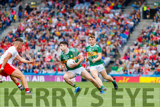 Paul Geaney, Kerry in action against Michael McKernan, Tyrone during the All Ireland Senior Football Semi Final between Kerry and Tyrone at Croke Park, Dublin on Sunday.