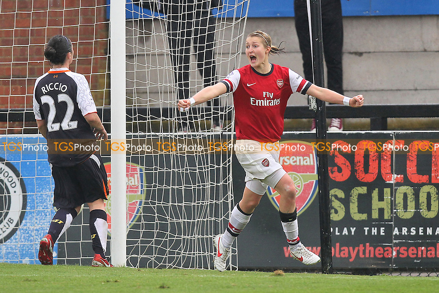 Ellen White scores the third goal for Arsenal and celebrates - Arsenal Ladies vs Liverpool Ladies - FA Womens Super League Football at Boreham Wood FC - 23/09/12 - MANDATORY CREDIT: Gavin Ellis/TGSPHOTO - Self billing applies where appropriate - 0845 094 6026 - contact@tgsphoto.co.uk - NO UNPAID USE.