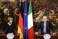 Roma, 13 Marzo 2012.Palazzo Chigi.Incontro tra il Presidente del Consiglio Mario Monti e il cancelliere tedesco Angela Merkel