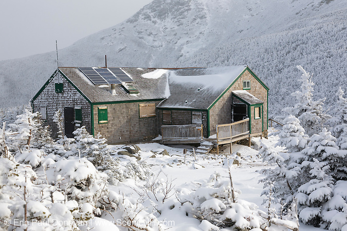 Greenleaf Hut in the White Mountains of New Hampshire USA during the winter months. This shelter is located just below the summit of Mount Lafayette along the Greenleaf Trail.