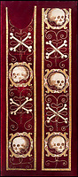 BNPS.co.uk (01202 558833)<br /> Pic: IndarPasricha/BNPS<br /> <br /> Embroidered skull and crossbones to be worn during a funeral service..<br /> <br /> From High Fashion to the High Church...<br /> <br /> An incredible collection of 17th century ecclesiastical textiles, that actually started life as luxury fashion worn by the aristocratic women of the day, has emerged for sale.<br /> <br /> The historically important ensemble highlights a golden moment in European textile production dating from 1690 to 1720 when free reign was given to intricate dress designs in gold and silk that was soon adopted by the senior members of the church to adorn they're otherwise plain vestments.<br /> <br /> The valuable collection, assembled over two decades, is now being sold with prices ranging from &pound;5,000 all the way to &pound;1m.