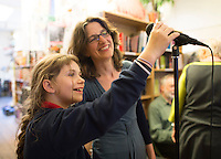 Emily Charkin, Institute of Education, with young friend at the event to discuss Leila Berg's contribution to radical education and children's lives, Houseman's bookshop, London, 22nd May 2013.